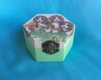 Wooden jewelry box, Elegant gift, tooth fairy box, shabby chic, kids gift, sweet pets, dogs and butterfly home decoration, art box, handmade