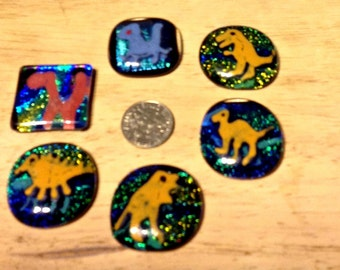 Dinosaurs, Fused DICHROIC Glass,6 Sparkly Dinosaurs, Originals by Feralartist, Jewelry, Crafts, Gift for Girls, Gift for Boys, Birthday Gift