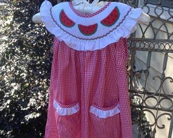 Smocked Watermelon Dress, Smocked Girls Dresses, Float Collar