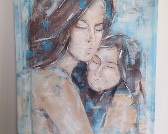 Mother & Daughter, acrylic painting, original painting, abstract painting, family
