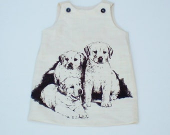 "Baby girls dress, Clothing for baby girls,  size 0-3 months, Puppy dress, ""READY TO SHIP"""