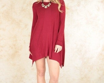 Long sleeve over sized tunic dress