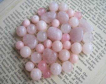 Mixed Lot Beads, Mixed Lot Pink Beads, Rose Quartz Beads, Pink Jade Beads, Pink Beads, Destash Beads, 40 Beads