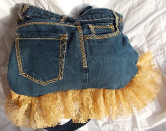 Recycled, Upcycled Blue Jean bag with a yellow lace ruffle.  The perfect gift for a teenage girl.
