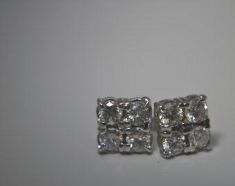 "Diamond ""Quads"" Stud .40ctw 14k White Gold GenuineRound Brilliant Diamond Post Earrings"