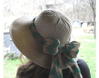 Womens Hat with With attached Burlap & Chevron Wire Edge Ribbon