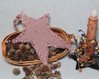 Small size Quilted Rag Star. Burgundy and White Plaid. Country/Rustic/Primitive Decor