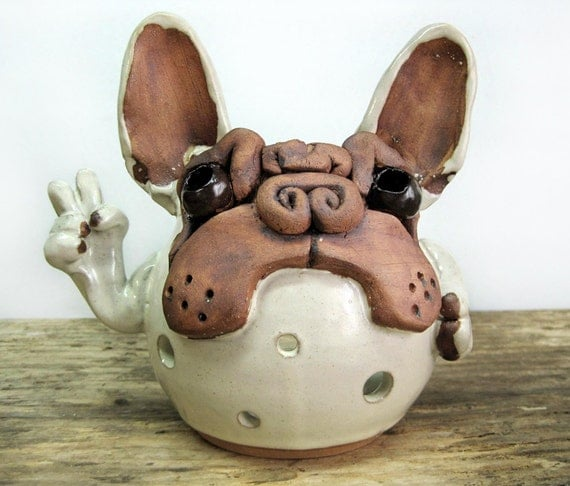 French Bulldog Pottery Candle Holder Peace By Squaredogpottery