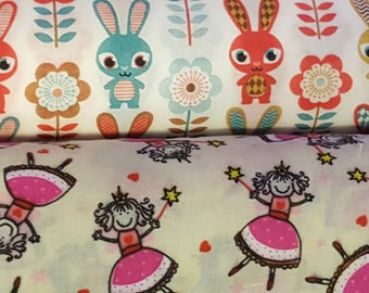 Dress fabric by the metre, Bunnys and Fairys. kids bedroom, Craft Fabric