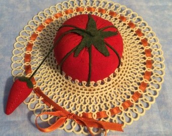 Vintage Tomato Hat Pincushion