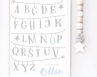 Personalised Alphabet A4 nursery print
