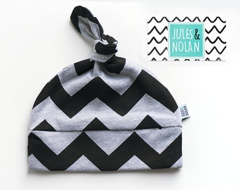 30% - baby knot hat - beanie for baby, shower gift - Black chevrons