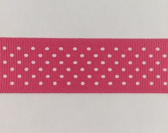 7/8 Inch Shocking Pink and White Swiss Dot Grosgrain Ribbon