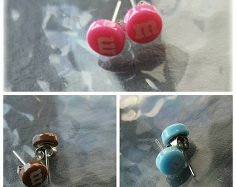 """SALE!! Cute """"M"""" Chocolate Resin Earring Studs with Rubber Backing - 10mm, 6 colours to choose from!"""