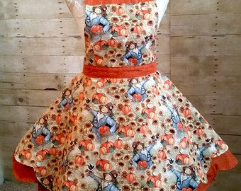 Fall Pumpkin Scarecrow Holiday Apron Thanksgiving Sweetheart Hostess ,Shabby Chic