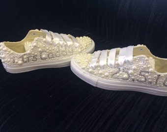 Personalised pearl wedding converse on leather base shoe ~ gift for bride from groom ~ rhinestone converse shoes ~ design your own converse