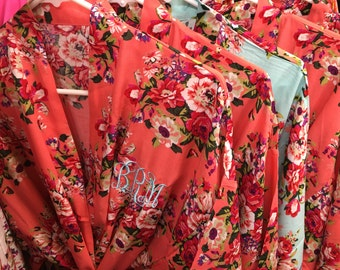 Cotton Bridesmaid Robes 5, Floral Robes Bridal Shower Gift Bride Robes Wedding Party Monogram White Navy Purple Coral Pink Light Blue Black