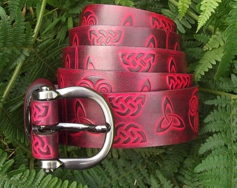 Leather belt 3 cm wide, celtic design, Red (16 colors available)