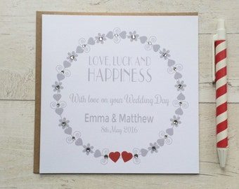 Personalised Wedding Day Card - Love, Luck and Happiness (LB024)