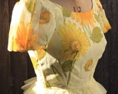 Nadine Frilly Yellow Puff-sleeved 1960s Sunflower Dress
