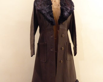 Glenhusky Real Leather and Fur Collar Chocolate Brown Fitted 1970s Coat