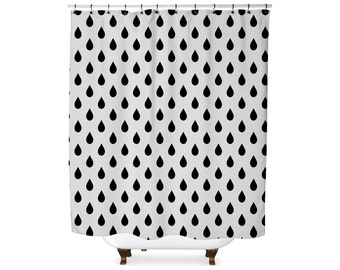 Black and white rain drop shower curtain