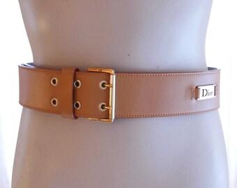 Christian Dior belt signed camel leather Dior vintage leather belt