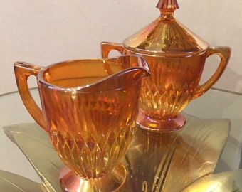 Carnival Glass Creamer and Sugar Dish with Lid / Vintage Orange Carnival Glass / Vintage Glass Creamer and Sugar Bowl
