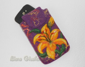 Sale Felted Phone Cover READY TO SHIP Felted Bag Felt iPhone Case Phone Pouch Felted  Case Felt Phone Sleeve Handfelted Bag Gift for her