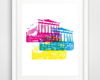 Acropolis Print, Acropolis wall print, Acropolis wall art, Greek Monument, Warhol Pop Art, Ancient Greek, home gallery, dorm decor