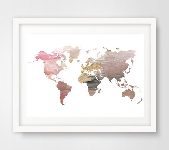 pink world map wall art pink world map world map by ikonolexi. Black Bedroom Furniture Sets. Home Design Ideas