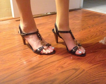Ann Taylor Navy Sandals Size 6.5