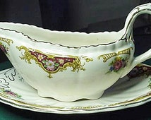 Losol Ware Keeling & Co. Burslem Made In England Gravy Boat and Plate