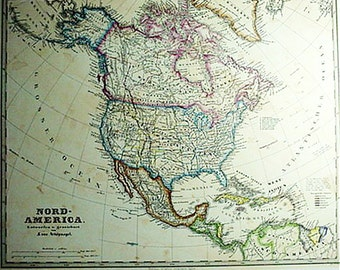 North America by F. Von Stulplogel (c1868) Old Map Print Reproduction
