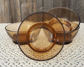 Vintage Smoky Amber Duralex Bowls