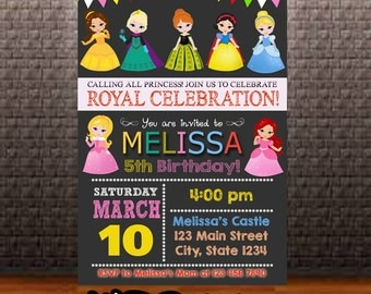Princess Birthday Invitation, Princess Invitation Birthday, Princess Invitation, Princess Party Invitation, Princess Birthday Party