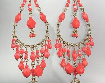 GORGEOUS Coral Red Crystal Beads Chandelier Dangle Earrings, Bohemian Earrings, Cascading Dangle Earrings, FREE SHIPPING!
