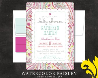 WATERCOLOR PAISLEY . baby shower invitation