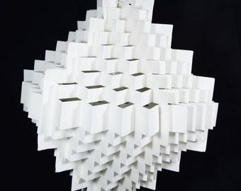 White Stepping Cube Geometrical Shaped Folded Paper Lantern Shade - 18UQ2-WH