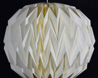 Beige / Ivory Round Geometrical Shaped Folding Paper Lantern Shade - 16UQ1-BG