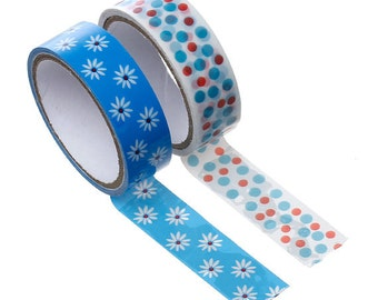 Two Roll Set of Floral Crafting Tape - Washi Tape, Planner Accessories, Kawaii Tape, Japanese Tape, Blue, Flower Washi, Ships from USA - T5