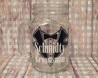 set of 5 groomsmen glasses, set of 5 groomsmen mason jars, groomsmen gifts, wedding party gifts, groomsmen mason jars, personalized glasses