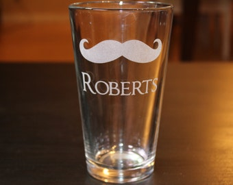 Personalization Name Mustache Pint Cup -Father's Day Gift- Groomsman Gift