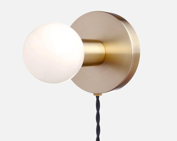 Minimal Wall Sconce Plug In Light Solid Brass Modern