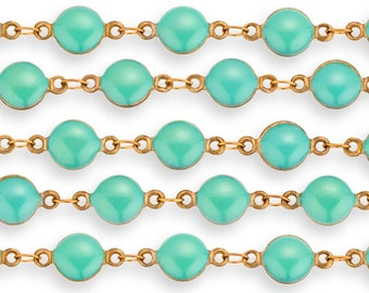 1 FT 7 mm Antique Brass Chain With Turquoise Color Glass Bezel setting (CHB100101)