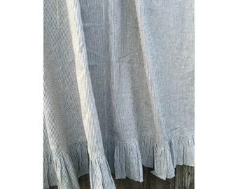 Ruffled Shower Curtain, 72x72, 72x85, 72x94, 72x72, Striped Shower Curtain with Ruffle Hem