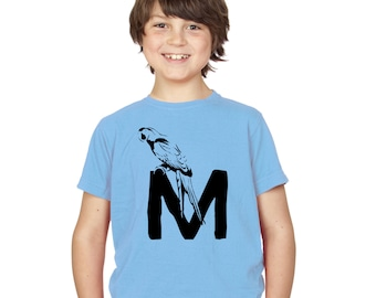 Kids M is for Macaw T-Shirt / Childrens Animal A-Z Alphabet T Shirt in Black, Grey, Pink, Yellow, Blue / Age: 3-4, 5-6, 7-8, 9-11, 12-13