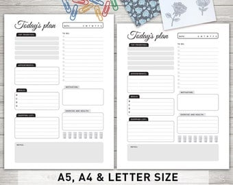 """Daily Planner Printable: """"TODAY'S PLAN"""" Daily Schedule, Daily To Do List, Day Organizer, Daily Planner Inserts"""
