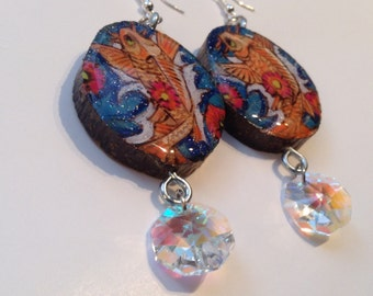 ON SALE CLEARANCE-Wood pyrography earrings, koi fish with flowers