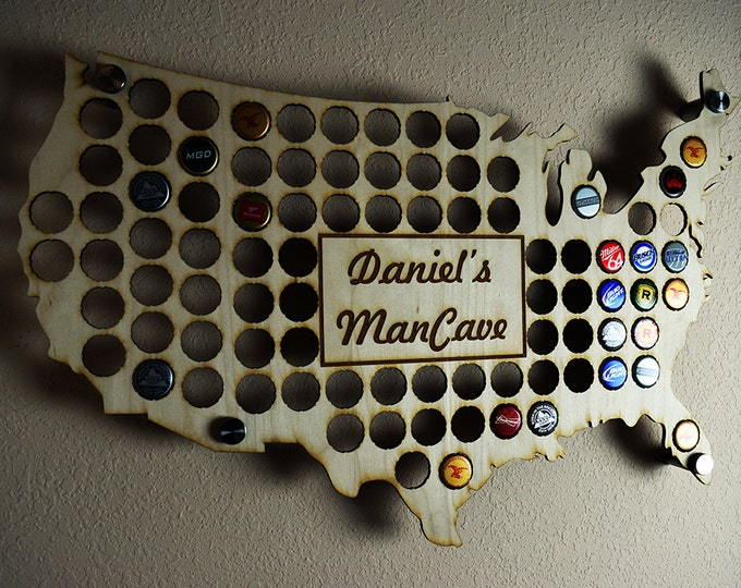 USA Beer Cap Map Display Holder with Custom Personalized Engraving, The Perfect Boy Friend or Groomsman Gift
